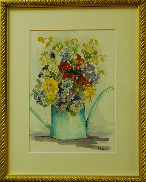 Flowers from the Garden<br /> 12 x 15 Framed Watercolor, Pen, and Ink<br /> Lynn Briggs<br /> $90
