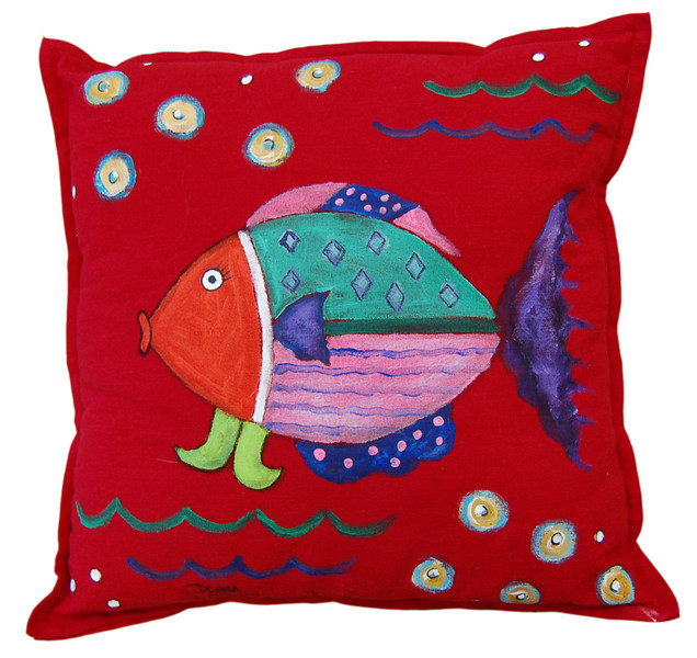 Ocean View I<br /> Hand Painted Pillow<br /> Donna O'Brien<br /> $85