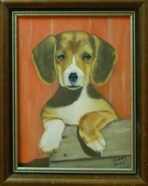 Rusty<br /> 9 x 12 Framed Oil on Canvas<br /> Sherry Alvis<br /> $95