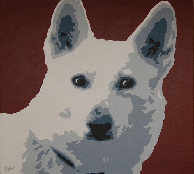 White Shepard<br /> 20 x 20 Acrylic on Canvas<br /> Henry Patton<br /> $700