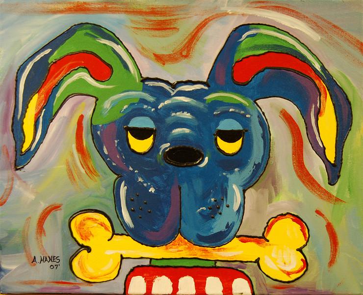 Dog with Bone<br /> 16 x 20 Acrylic on Canvas<br /> Amanda Hanes<br /> $125