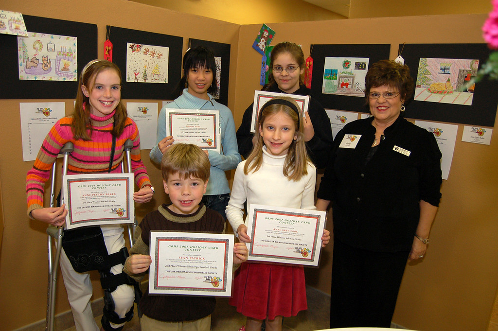 Shirley Fung, Chrystal Ramos, Anne Peyton Baken, Anne Gray Cook and Sean Patrick O'Brien - Children's Holiday Art Contest Winners along with Cathy Stewart, Director of Education for the GBHS