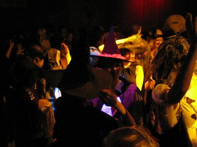 Film of costumed people dancing at John Futrell's annual Halloween Bash held this year at Risque Club inside Paris Casino in Las Vegas.