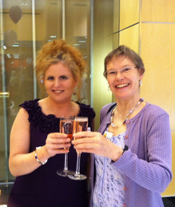 Cheers!     Sue Garcia and Sandy Ward, volunteers for the Library.