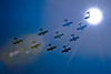 Black Jack Squadron with one plane engulfed by the sun!