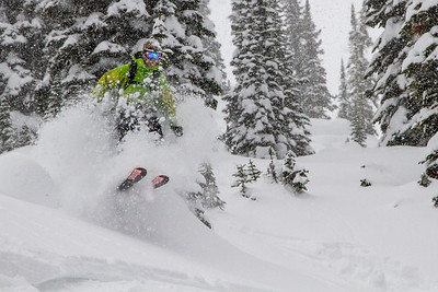 Kevin Cvetko doing his best to aid in skier compaction