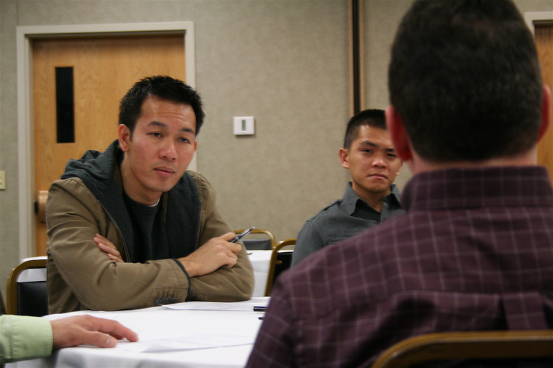 Fr. Vien Nguyen listens to Fr. Mark Mastin during the Los Jovenes meeting Monday morning.  Los Jovenes is a periodic meeting of SCJs who have been in vows less than 10 years.  Together, they talk about their hopes for the province, and the challenges of religious life.
