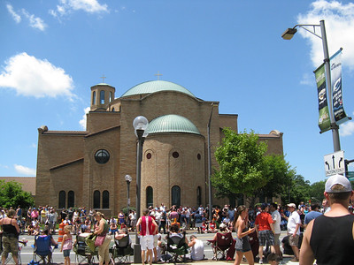 The Greek Orthodox Church was directly in front of our viewing area