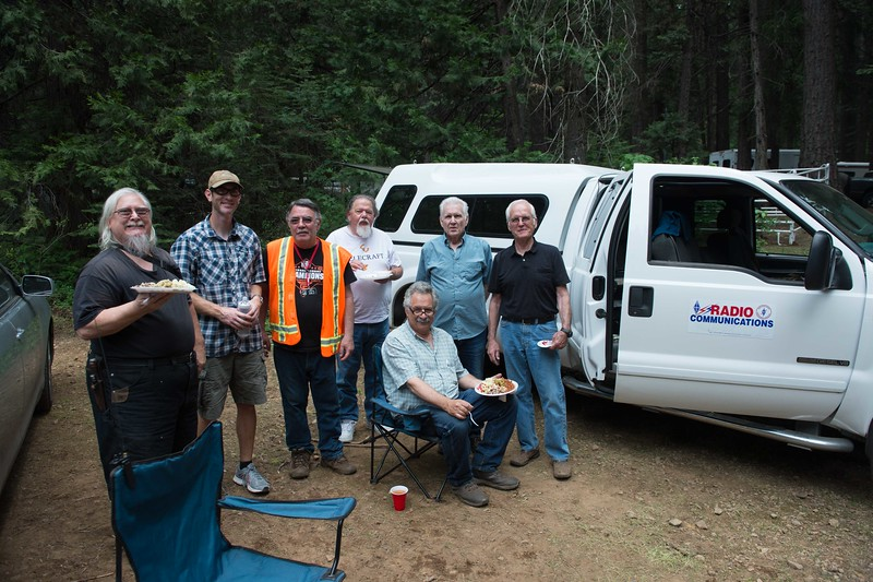 Ham radio operators. Dennis W7BOK, Ben N3BEN, Bert AI6LZ, Richard KI6UOV, seated Louis KK6GJS,Ed KK6SIF, Alan KZ6B and taking the picture is Cal AI6MC. Communications were setup to communicate with each of the 4 card stations and base camp with 2 operators standing by to relay a call for help in case of emergency.