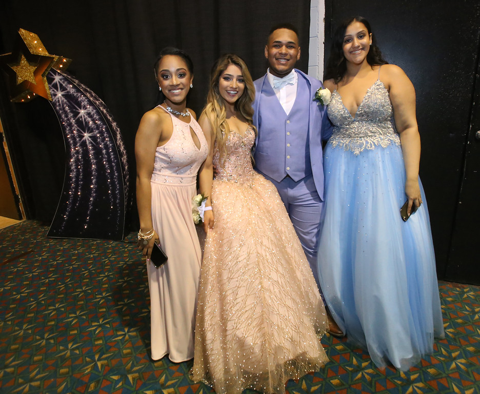 . Greater Lowell Tech prom. From left, Destinee Melendez of Lowell, Jessica Paleologos of Dracut, Wesley Suarez and Marizelly Oliva, both of Lowell.  (SUN/Julia Malakie)