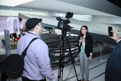 Richard Sandoval films a stand up with Wayne State University student Sarah Rahal