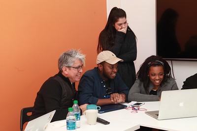 Mentor Michael Quintanilla, and award-winning students Rushawn Walters, Sarah Rahal and Nia Muhammad