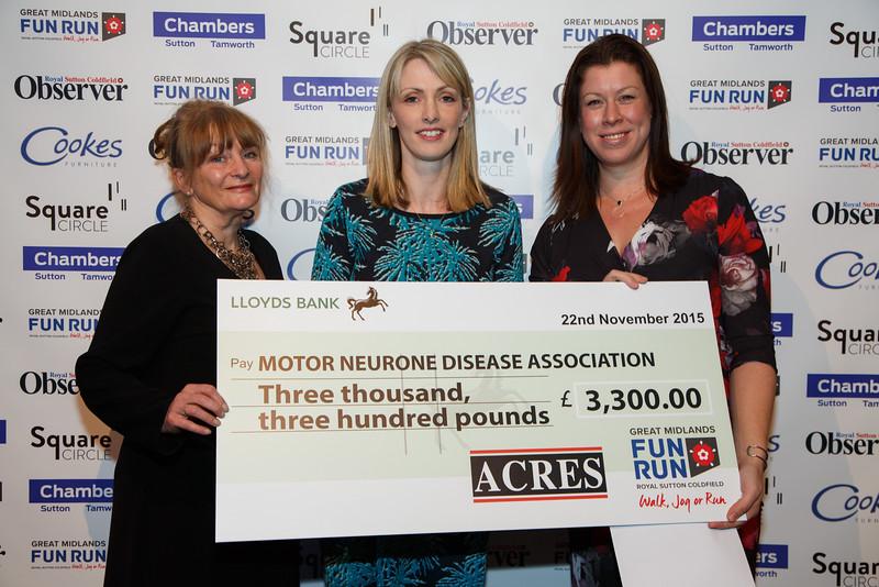 Great Midlands Fun Run Awards 2015 - L to R - Pat Gardiner (MNDA), Karen Mucklow ( Acres), Amy Kilpatrick (MNDA)