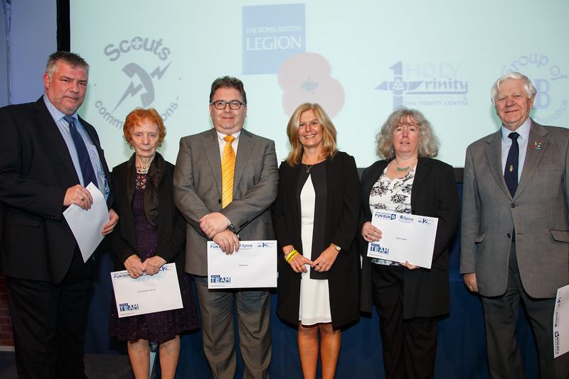 Great Midlands Fun Run Awards 2015 - L to R - Roger Stocks (Nationwide Scout Communications), Millie Lewis (Sutton Support Services), Dave Elliot (BHBN Radio), Jane Sutton, Rachel Warren (Trinity Centre), Roy Hubbard (Royal British Legion)