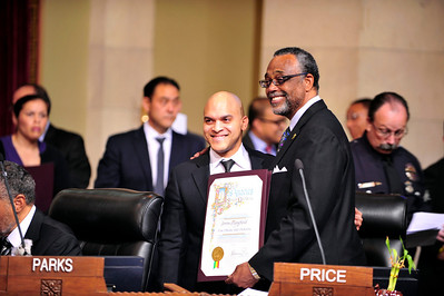 LOS ANGELES, GRAMMY AWARD WINNING TRUMPETER IRVIN MAYFIELD AND THE NEW ORLEANS JAZZ ORCHESTRA WAS HONORED AT CITY HALL AND PERFORMED AT THE CALIFORNIA AFRICAN AMERICAN MUSEUM FOR OVER 300 LAUSD HIGH SCHOOL STUDENTS ON APRIL 11, 2014 . (Photos by Valerie Goodloe