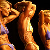 Record-Eagle/Garret Leiva<br /> Kim Harvey, left, Kim Purdy, center, and Karen Hypio, right, tighten their ab muscles as they compete for the Master Women class title at the 29th annual Grand Traverse Bodybuilding and Figure Championship, presented by Fit For You Health Club Saturday at the Leelanau Sands Showroom.