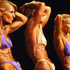 Record-Eagle/Garret Leiva<br /> Kim Harvey, left, Kim Purdey, center, and Karen Hypro, right, tighten their ab muscles as they compete for the Master Women class title at the 29th annual Grand Traverse Bodybuilding and Figure Championship presented by Fit For You Health Club Saturday at the Leelanau Sands Showroom.