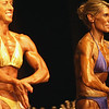 Record-Eagle/Garret Leiva<br /> Second-place finisher Kim Harvey, right, and Kim Purdey, first place, compete in the Tall Women class at the 29th annual Grand Traverse Bodybuilding and Figure Championship presented by Fit For You Health Club Saturday at the Leelanau Sands Showroom.