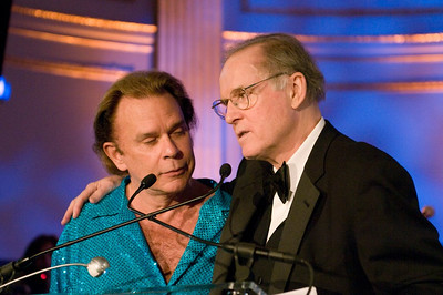 Singer Lou Cristie with actor and MC Charles Grodin