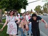 Zombies march down Stockdale Highway collecting canned food for the homeless.