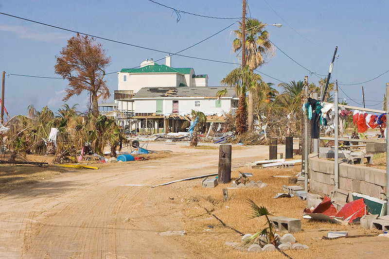 I guess you call this the bay side of Galveston. They were hit hard.