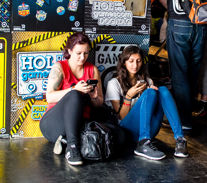 Tired gamers at Gamescom 2015
