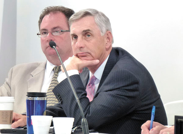 Debbie Wachter/NEWS<br /> Pennsylvania Gaming Control Board members Keith McCall of Carbon County, left, and Gregory C. Fajt of Allegheny County listen intently to testimony from the public.