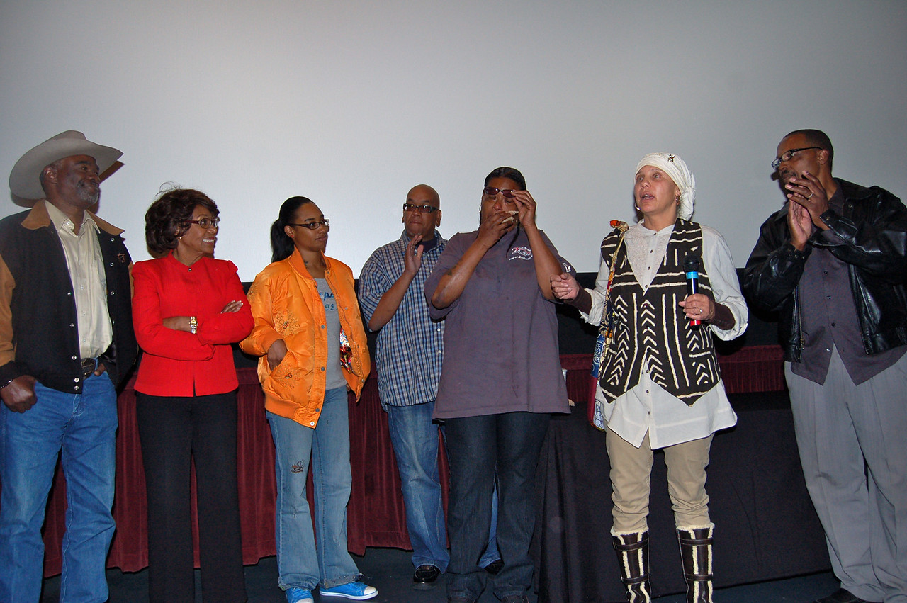Saw Gang Girl, the Valerie Goodloe film today at PAFF. It stays on my mind. If you know a girl at risk, or a mother in turmoil, this is therapy in 86 minutes. Glynn Turman, Cong. Maxine Waters, a still emotional Bubbles is in purple, while Valerie Goodloe has the microphone.