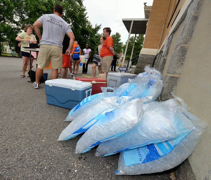 Bags of ice sit waiting for participants in the Gardner City Wide Ice Bucket Challenge for ALS which netted about $2200 SENTINEL&ENTERPRISE/ Jim Marabello