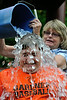 State Rep Jon Zlotnik of Gardner gets doused by his mother MaryAnn who was the high bidder. The Gardner City Wide Ice Bucket Challenge for ALS netted about $2200 SENTINEL&ENTERPRISE/ Jim Marabello