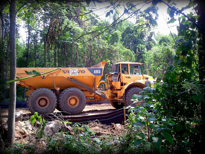 Heavy construction going on behind my property on a right of way. The tires on this truck are as tall as a man!