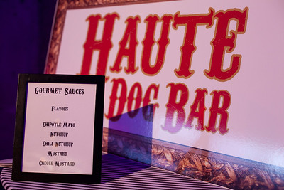 """Our """"grab and go"""" Haute Dog food station with a selection of great sauces  Photo By K and K Photography - http://www.kandkphotography.com/"""