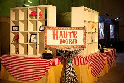 """Our """"grab and go"""" Haute Dog food station setup using bookshelves by MMD Events.  Photo By K and K Photography - http://www.kandkphotography.com/"""