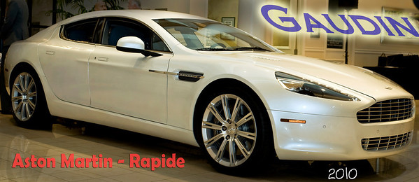 The new Aston Martin Rapide automobile only at Gaudin  Jaguar-Porsche-Aston Martin in Las Vegas at 7200 West Sahara, West of Rainbow Blvd. Gaudin  Jaguar-Porsche-Aston Martin can be found on the internet at http://www.jplv.net/ Your Aston Martin Sales Rep at Gaudin has been trained at Aston Martin in England on every exciting aspect of the Aston Martin from manufacturing specs to performance figures and looks forward to sharing his information with you. Test drive the Aston Martin Rapide today!