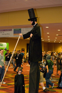 Look son, you don't even come to my knees, now scram before I brain you with my cane so hard your ears will ring for four score and seven.