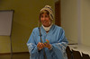 Julia Azagra Castellanos gets in native dress to help with the Argentine presentation.