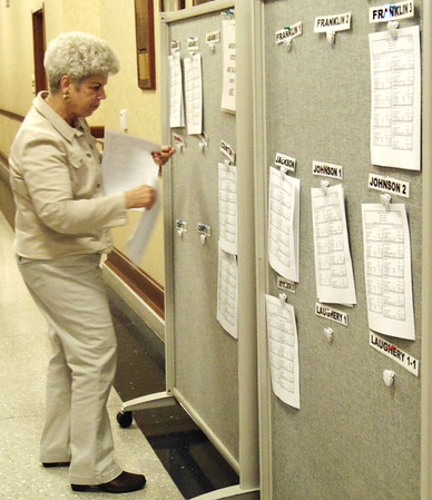 Diane Raver | The Herald-Tribune<br /> Karen Clayton, a clerk's office volunteer, placed precinct results on a board as they came in.