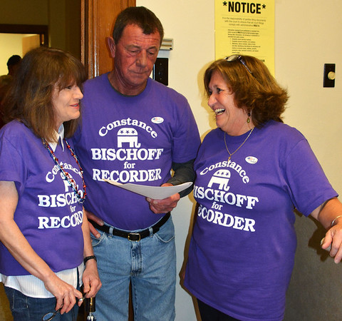 "Debbie Blank | The Herald-Tribune<br /> Of her county recorder win, Constance Bischoff (right) said, ""I've worked hard for this."" The candidate used flyers, imprinted T-shirts, yard signs and went door to door to build name recognition. Getting ready to celebrate with her are husband Ken and sister Debby Brown, all of Cedar Grove."