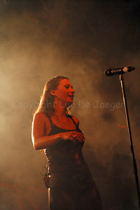 Xandee (Sandy Boets); lead singer of the very successful Belgian coverband Dr. Fred & the Medicine Men feat. Xandee during a live performance in open air at the Groentenmarkt in the night of July 19-20, 2010 during the Ghent festivities (Gentse Feesten).