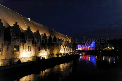 Night photo of the Meatmarket (Groot Vleeshuis) in Ghent (Gent), Belgium, during the 2010 Ghent Festivities (Gentse Feesten).