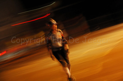 A female roller skater at night during the 2010 Ghent Festivities in Ghent (Gent), Belgium.