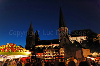 Night image of the St Jacobs Square and the Church of St Jabob in Ghent (Gent), Belgium during the 2010 Ghent Festivities (Gentse Feesten).