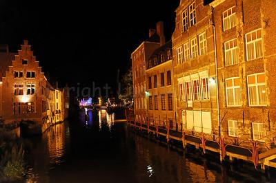 Night image of the back walls of the Kraanlei in Ghent (Gent), Belgium during the 2010 Ghent Festivities (Gentse Feesten).