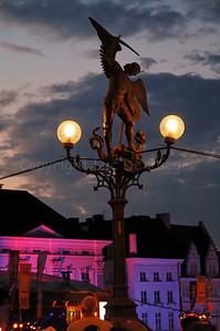Street lighting at the St Michael's bridge (Sint Michielsbrug) in Ghent (Gent), Belgium, during the 2010 Ghent Festivities (Gentse Feesten).