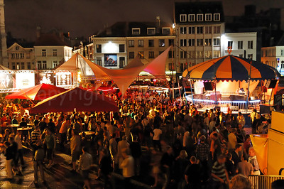Night image of the Emile Braunplein in Ghent (Gent), Belgium during the 2010 Ghent Festivities (Gentse Feesten).