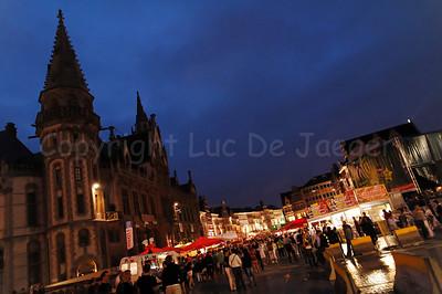 Night image of the Korenmarkt in Ghent (Gent), Belgium during the 2010 Ghent Festivities (Gentse Feesten).
