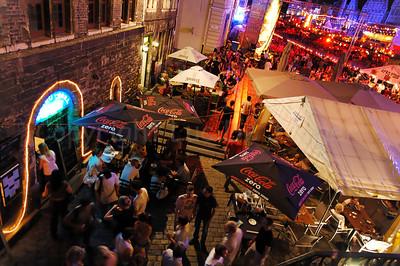Night image of the Korenlei in Ghent (Gent), Belgium during the 2010 Ghent Festivities (Gentse Feesten).