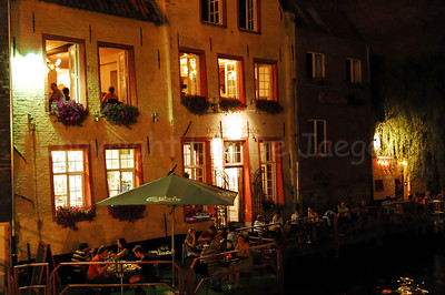 "Night image of the ""Acht Zaligheden"", a restaurant along Oudburg in Ghent (Gent), Belgium captured during the 2010 Ghent Festivities (Gentse Feesten)."