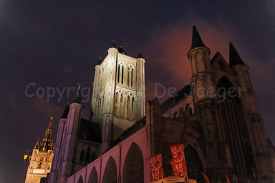 Night shot of the Belfry Tower and the Tower of the Church of St Nicolas in Ghent (Gent), Belgium. This is no HDR photo.