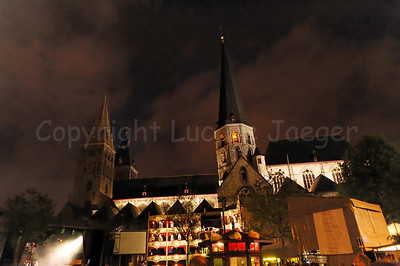 Night image of the St Jacobs Square and the Church of St Jabob in Ghent (Gent), Belgium during the 2010 Ghent Festivities (Gentse Feesten). This is no HDR photo.